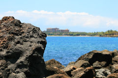 Huge stone on ocean background, Hawaii Royalty Free Stock Images