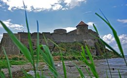 The huge stone walls of the ancient Akkerman fortress, Belgorod-Dniester, Odessa region stock photography