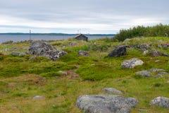 On the Bolshoy Zayatsky Island. Huge stones on the coastline of the Bolshoy Zayatsky Island. Solovetsky archipelago, White sea, Russia stock image