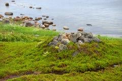 Huge stones on the coastline of the Bolshoy Zayatsky Island. Solovetsky archipelago, White sea, Russia royalty free stock image