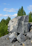 Huge stones of dead rock against northern country Royalty Free Stock Image