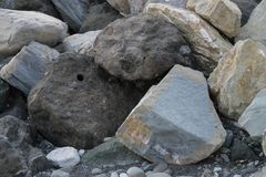 Huge stones lying on the sea to protect the shore from blur. In Imereti Bay Sochi Stock Image