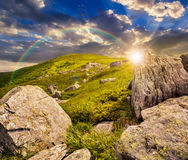 Huge stones in valley on top of mountain range Royalty Free Stock Image