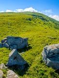 Huge stones in valley on top of mountain ridge stock photo