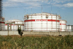 Huge storage tanks for petroleum products with the logo of LUKOI Stock Photography