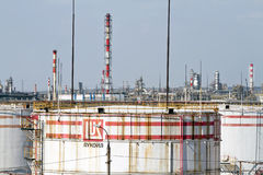 Huge storage tanks for petroleum products with the logo of LUKOI Stock Photos