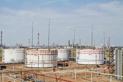 Huge storage tanks for petroleum products with the logo of LUKOI Stock Images
