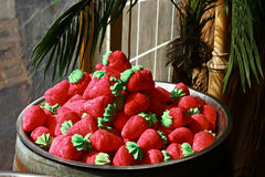 Huge strawberries candies, sweets in a pile  Royalty Free Stock Photo