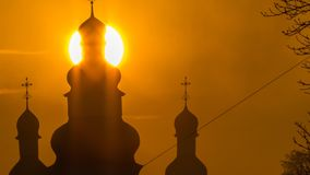 Huge sun time lapse of church dome in Chernihiv, Ukraine stock video