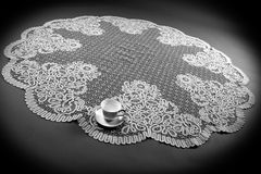 Huge tablecloth with cup Royalty Free Stock Images
