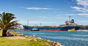 Huge tanker sails out of Newcastle, Australia Royalty Free Stock Photo