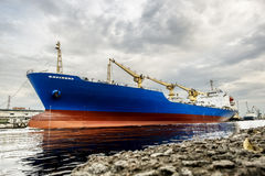 A huge tanker ship in the cargo sea port of St. Petersburg Russi Royalty Free Stock Images