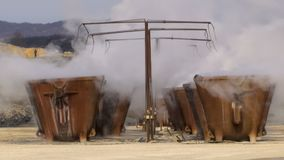 Huge tanks with melted metal. Processing of copper ore in the foundry,huge tanks with melted metal stock footage
