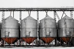 Huge tanks and reservoirs in the chemical industry. Industrial background royalty free illustration