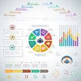 Huge Timeline Infographics Set with pie charts, icons Stock Photo