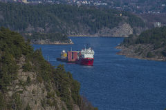 Huge tow in Iddefjord Stock Photography