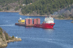 Huge tow in Iddefjord Royalty Free Stock Photo