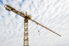 Huge tower crane at a building site Royalty Free Stock Photos