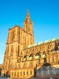 Huge tower of Notre dam of Strasburg cathedral Stock Image