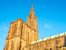 Huge tower of Notre dam of Strasburg cathedral Stock Images