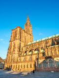 Huge tower of Notre dam of Strasburg cathedral Royalty Free Stock Photo