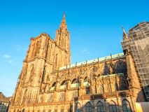 Huge tower of Notre dam of Strasburg cathedral Royalty Free Stock Image