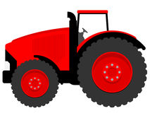 Huge tractor. Huge red and modern tractor stock illustration
