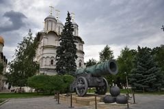 Huge Tsar in the Kremlin in Central Moscow. The Tsar Gun, the Sights of the Kremlin, walk in the center of Moscow Royalty Free Stock Images
