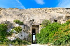 Huge tunnel in limestone catacombs or limestone mine, Sevastopol, Crimea.  Stock Image