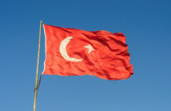 Huge Turkish Flag On Blue Sky Stock Image