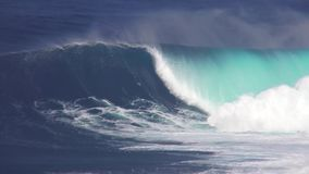 Huge turquoise blue foamy white surfing waves splashing in amazing tropical ocean seascape on sunny day in 4k shot. Huge turquoise blue foamy white surfing waves stock footage