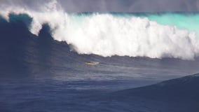Huge turquoise blue foamy white surfing waves splashing in wonderful tropical ocean seascape on sunny day in 4k shot. Huge turquoise blue foamy white surfing stock video