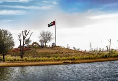 Huge UAE National Flag at Dubai Love Lake royalty free stock images