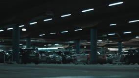 Huge underground parking. stock video