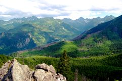 The huge valley on the panorama of the Tatras Royalty Free Stock Photography
