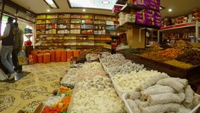 A huge variety of spices in the Turkish bazaar in the center of Sufism, the city of Konya. KONYA / TURKEY - 11.20.2016 central streets of the ancient Turkish stock video