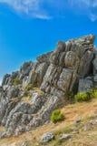 Huge vertical granite rocks in Portugal stock photography