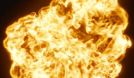 Huge Very Hot Fireball Explosion Background 3D Rendering. Closeup Royalty Free Stock Images