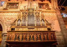 Church Organ. A huge and vintage organ located in a church in the town of Enna, Sicily stock photography