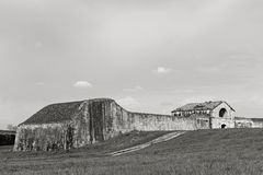 Fortifications  in Palmanova. Huge wall and fortifications can be found around the historic town of Palmanova - here an old historical barracks Royalty Free Stock Photos