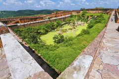 Water Tank On Jaigarh Fort. Huge water tank inside Jaigarh Fort boundary wall for water supply to royal family.Jaipur,Rajasthan stock image