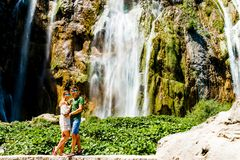 Couple near the Waterfall in Croatia Royalty Free Stock Photography