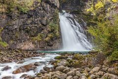Huge Waterfall in South Tyrol royalty free stock photography