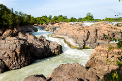 Huge waterfalls in Laos Royalty Free Stock Photography