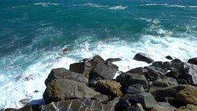 Huge waves break on the coastal cliffs. Of the Italian Riviera stock video