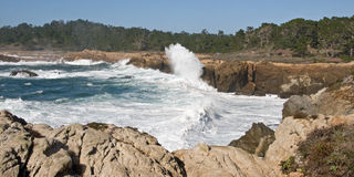 Huge Waves Breaking Ashore. This shot was taken of rocky coastline of Big Sur State Park, California, showing huge waves caused by storm surge Stock Photos
