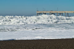 Huge waves on the California Coast Royalty Free Stock Photo