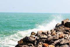 Huge waves crashing on the rocks Royalty Free Stock Image