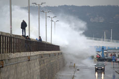 Huge waves flooded Varna breakwater Royalty Free Stock Photography
