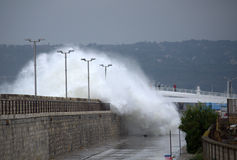 Huge waves flooded Varna breakwater Stock Images